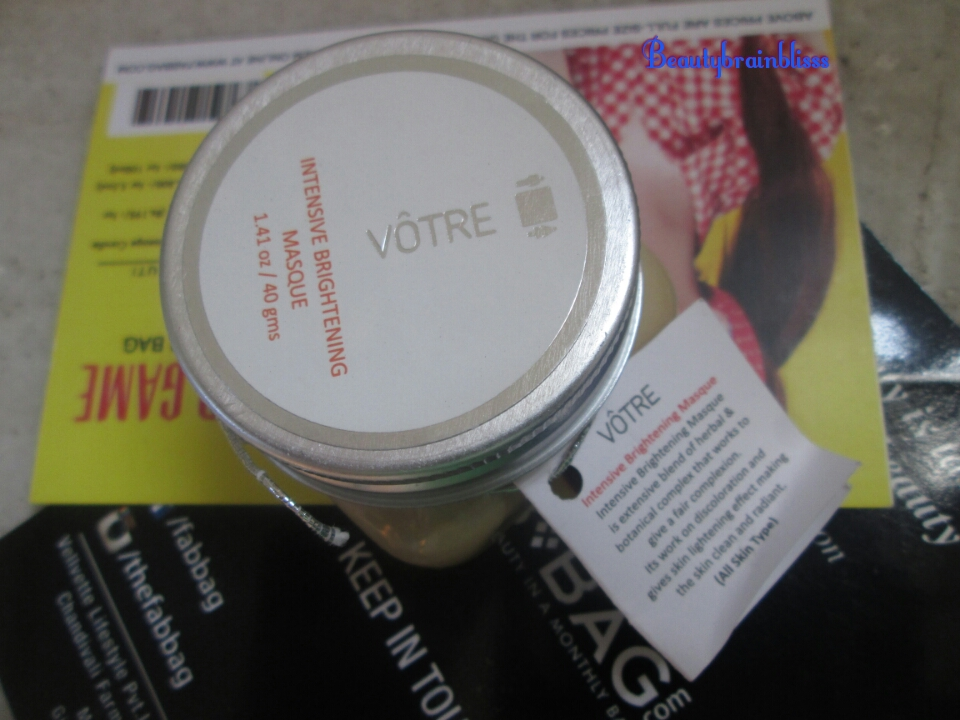 Vote Intensive Brightening Masque 40gm Full size 100ml/1080rs