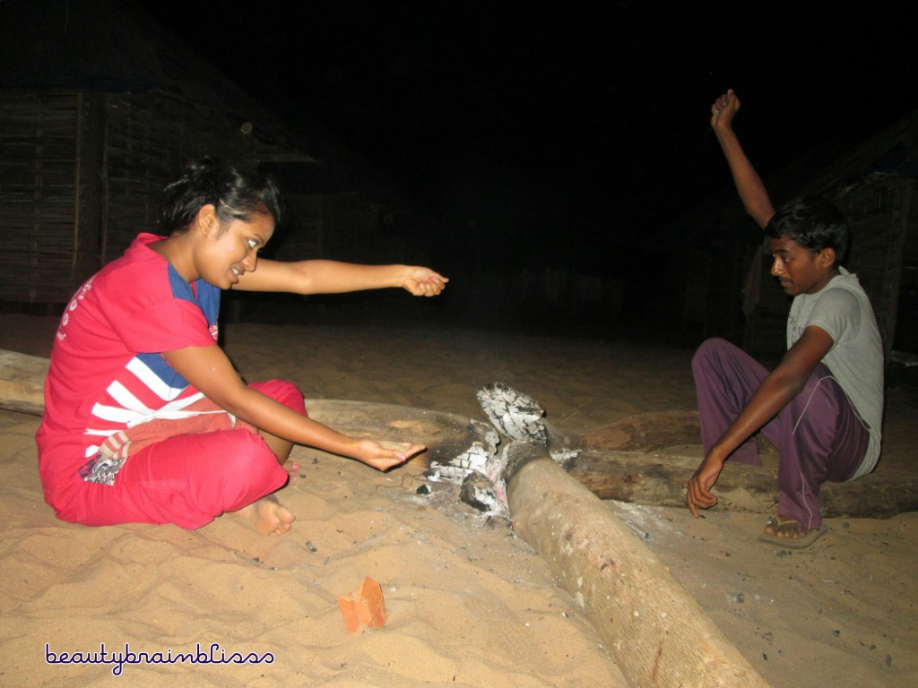 Sibling time- Going crazy at the campfire..